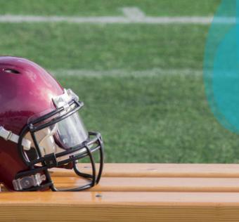 Football helmet on bench