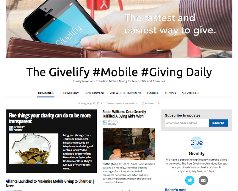 The Givelify Mobile Giving Daily